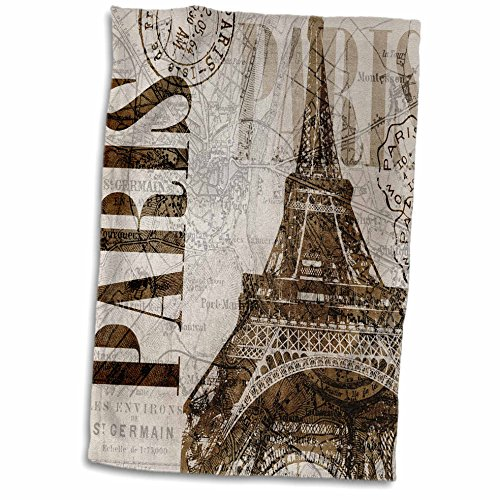3dRose Watercolor Paris Illustration with Eiffel Tower Towel, 15