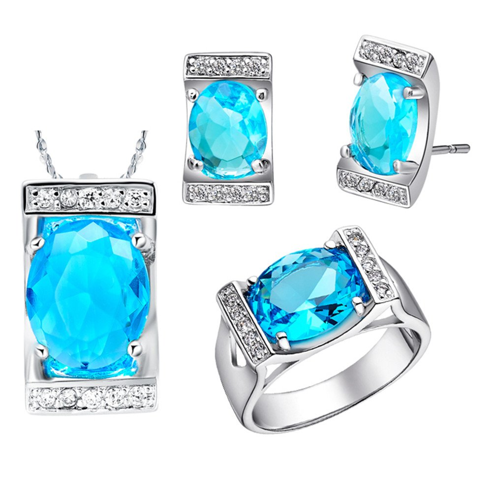 Uloveido Summer Jewelry Gift Large Oval Blue Simulated Diamond Stone Bridal Jewelry Sets for Women T094