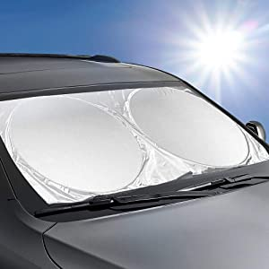 MAVRS Car Windshield Fits All Cars Sun Shade, Blocks UV Rays, Genuine Sun Visor Protector, Sunshade Keeps Your Vehicle Cool and Damage Free, Easy to Use, Fits Windshields of Various Sizes