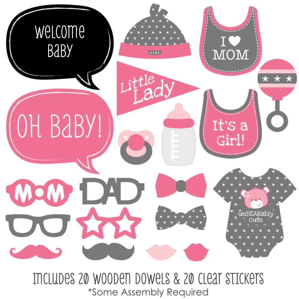 Baby Girl Baby Shower Photo Booth Props Kit 20 Count Amazoncom