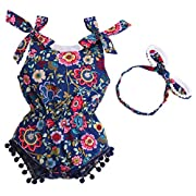 Fubin Newborn Infant Baby Clothing Cotton Tassel Pompon Summer Baby Girl Rompers Jumpsuit with Headband 2 PCS Set navy blue flower 13-24 months