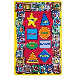 "Kids Rug ABC SHAPE Area Rug 8' x 11' Non Slip Gel Backing size approximate: 7' feet 10"" inch by 11' ft 3"" in ( 7'10"" X 11'3"")"
