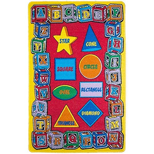 Mybecca Kids Rug ABC Shape Area Rug 5' x 7' Children Area Rug for Playroom & Nursery - Learning Shapes & Colors Activity Carpets Non Skid Gel Backing (59