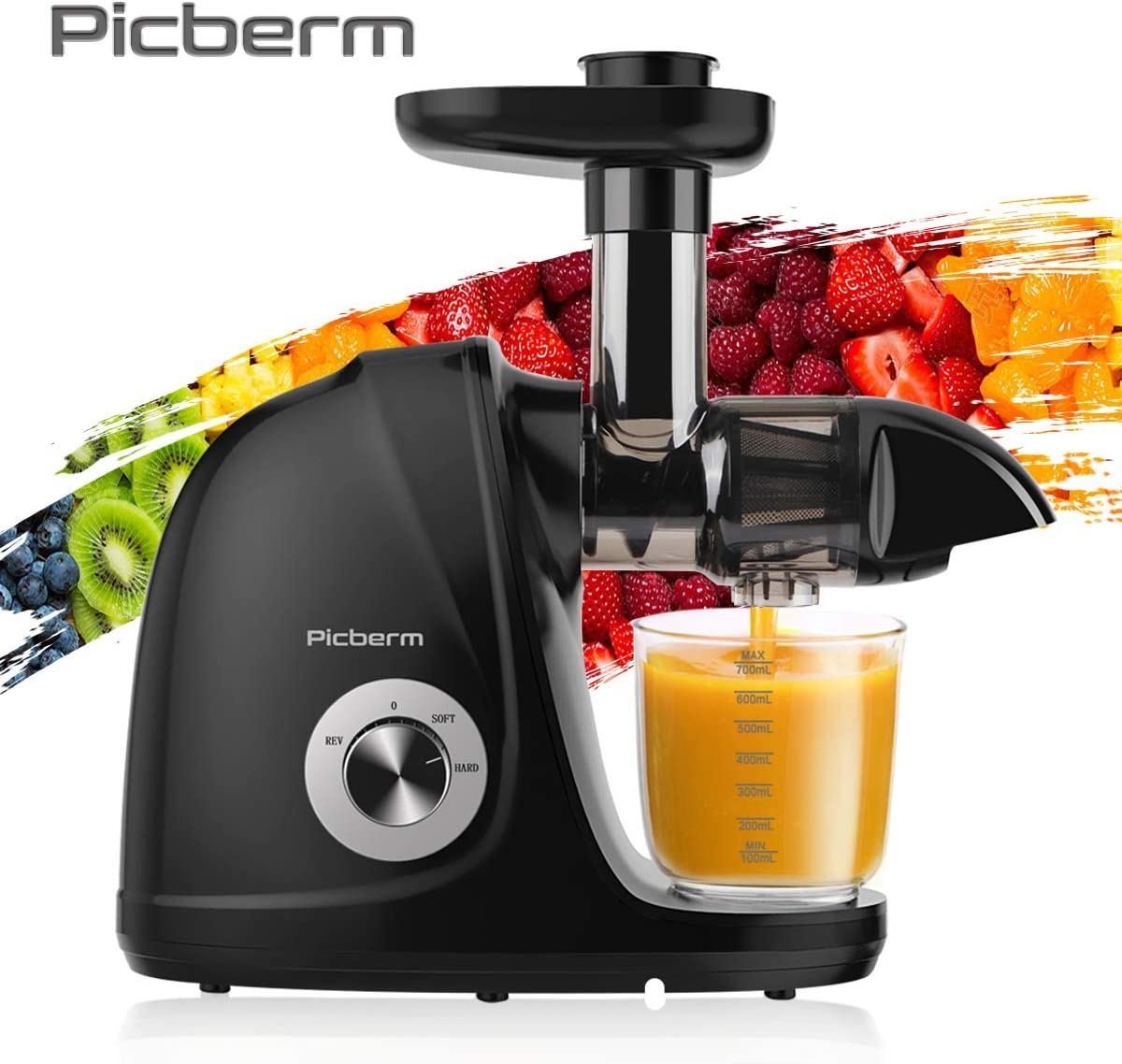 Juicer Machines, Picberm PB2110A Slow Masticating Juicer Extractor with Quiet Motor Easy to Clean, BPA Free Anti clogging Cold Press Juicer with