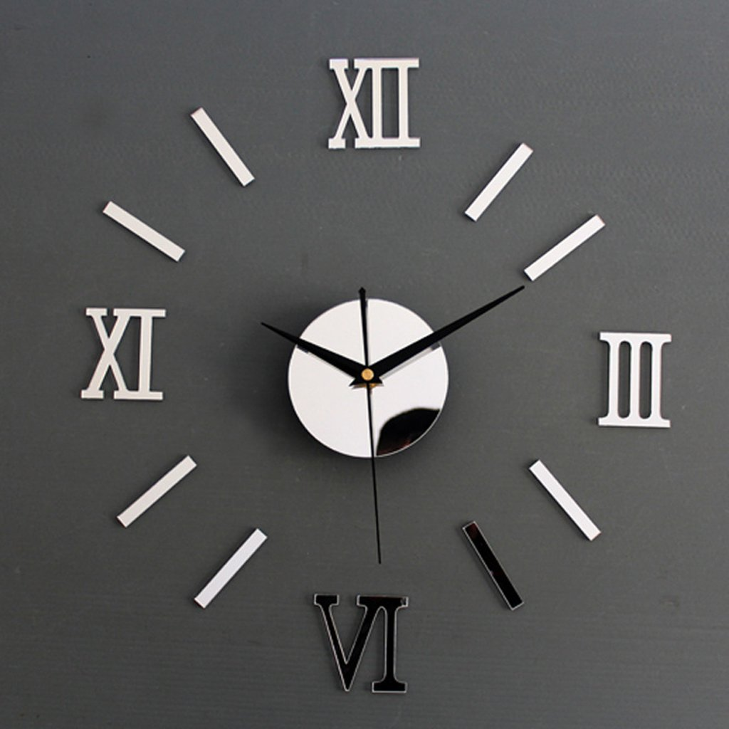 Roman Numeral Wall Clock Mirror Decal DIY Home Living Room Decoration Amazoncouk Kitchen