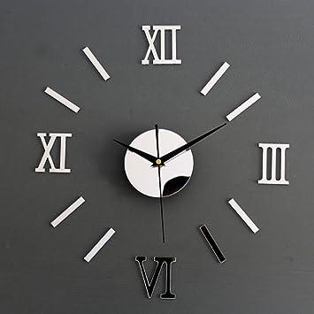 Horloge Murale DIY Chiffres Romains Style de Miroir Décoration ...
