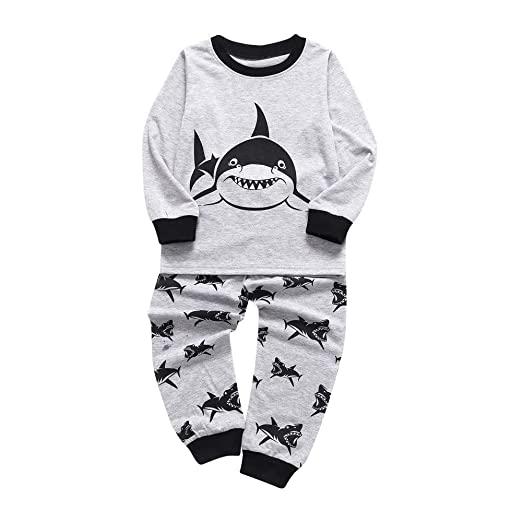 cda9968e2d1e Hatop Toddler Kids Baby Outfits Long Sleeves Sharks Print Top Pants Boys  Clothes Set (Gray