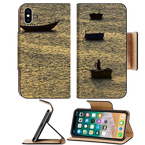 Ne Villages (MSD Premium Apple iPhone X Flip Pu Leather Wallet Case IMAGE ID: 30390505 fisherman padding the traditional boat at village of Mui Ne Vietnam)