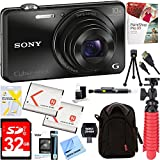 Sony Cyber-shot WX220 Compact Digital Camera with 10x Optical Zoom (Black) + 32GB SDXC Memory Dual Battery Kit + Accessory Bundle