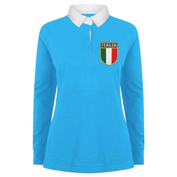 De la Mujer Vintage bordado escudo del Italiano Italia Italia camisa de  Rugby de manga larga de impresión Me una camiseta en Surf azul blanco   Amazon.es  ... 763c4e6751a22