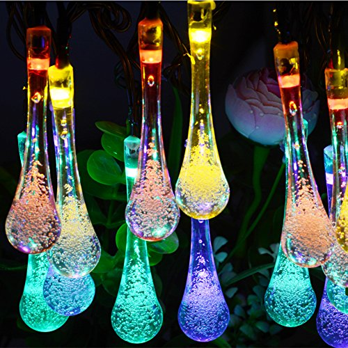 USA free shipping Dephen Solar LED String Lights,19.7ft 30 Solar Icicle Water Drop String Fairy ...