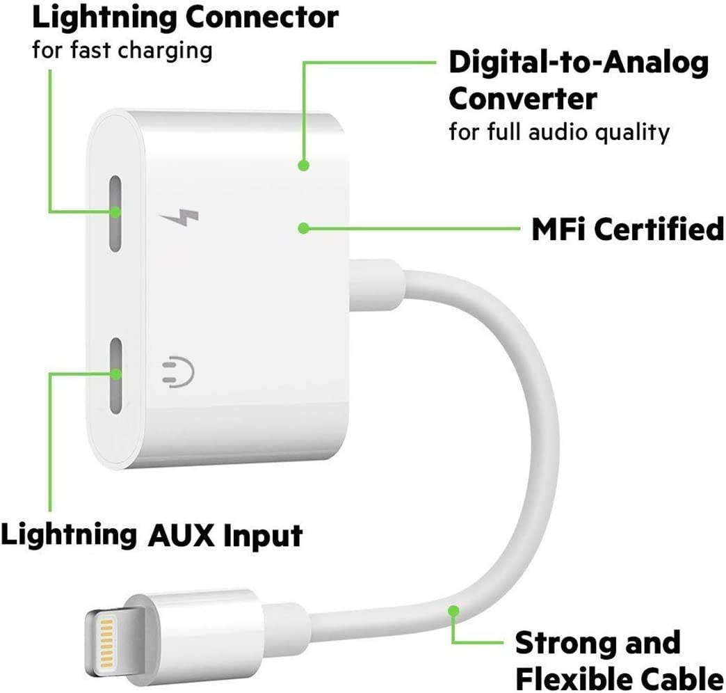 Support iOS 13 Charge Cable Compatible for iPhone 11//11 Pro//XS//XR//X 8 7 Apple MFi Certified Sync Data iPad Music Control 2 in 1 Dual Lightning Headphone Jack Audio iPhone Adapter /& Splitter
