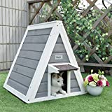 Petsfit Triangle Wooden Cat House with Back Escape Door, Front Door with Eave to Prevent Rain for Cat and Small Animals, Grey