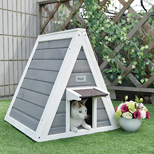 Petsfit-Triangle-Wooden-Cat-House-with-Back-Escape-Door-Front-Door-with-Eave-to-Prevent-Rain-for-Cat-and-Small-Animals-Grey