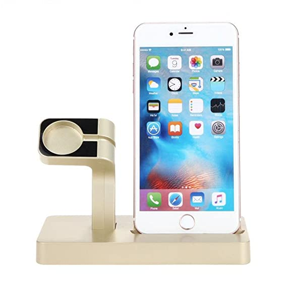 the latest 6eaee 35d44 Charge Dock Charger For iPhone 7 6S Plus /6/5 For Apple Watch iWatch  Charging Cradle Stand Holder (Gold)
