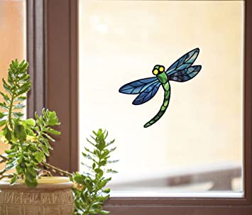 Amazoncom Dragonfly Stained Glass D SeeThrough Vinyl - Vinyl window decals amazon