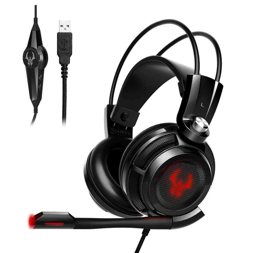 EasyAcc G1 Virtual 7.1 Surround Gaming Headset con funció n de vibració n de Sonido USB, PC, PS4 Gaming Auriculares PS4Gaming Auriculares SMKG1-B