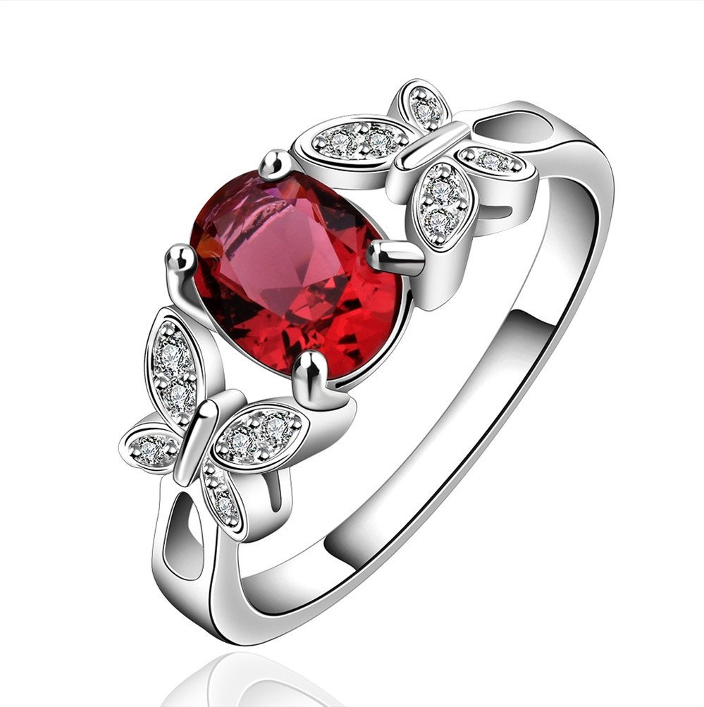 HMILYDYK Beautiful Women Lady Jewelry Fashion Butterfly Crystal 925 Sterling Silver plated Ring Gift Bag GDUSPCR648