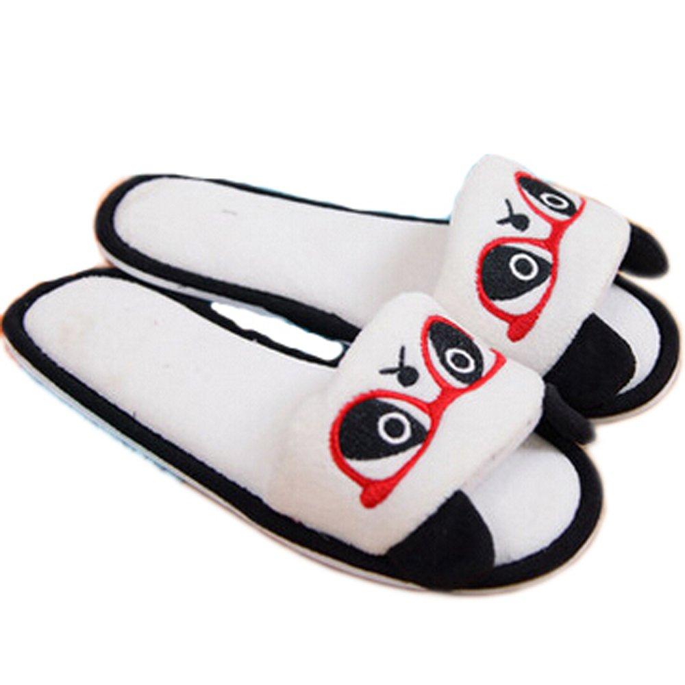 E.a@market Summer Women's Cute Panda Plush Slipper Home Slippers (Eu(38-39), Panda/white Glasses)