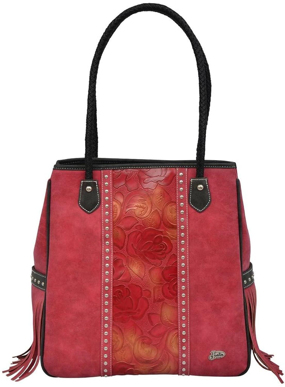 Justin Western Handbag Womens Tote Tall Braided Floral Red JBHB103