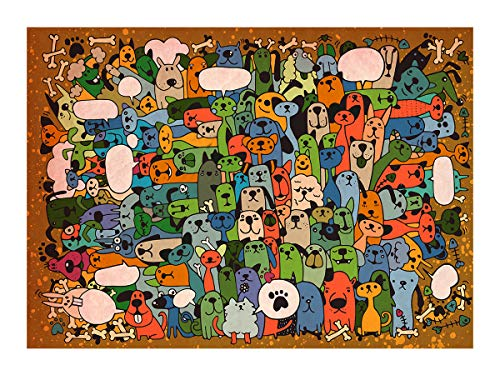 Bgraamiens Puzzle-Puppies' Party-1000 Pieces Cute Cartoon Dogs Jigsaw Puzzles