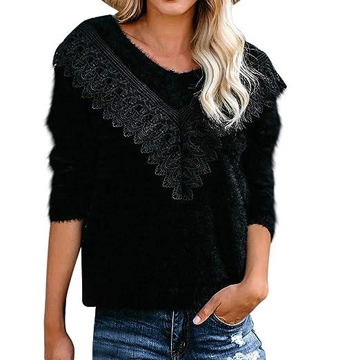 jieGorge🎄 Suéter de Mujer con Cuello en V pompón de Color Liso ...