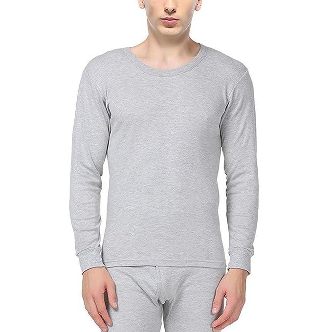 Ropa Interior Térmica para Hombre Sólido Color Conjuntos Algodón De De Mode De Marca Cuello Redondo