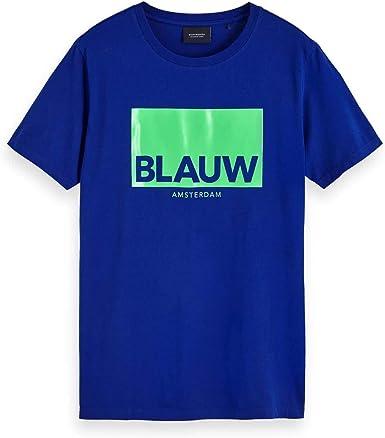 Scotch & Soda AMS Blauw Signature Short Sleeve tee Camiseta para Hombre: Amazon.es: Ropa y accesorios
