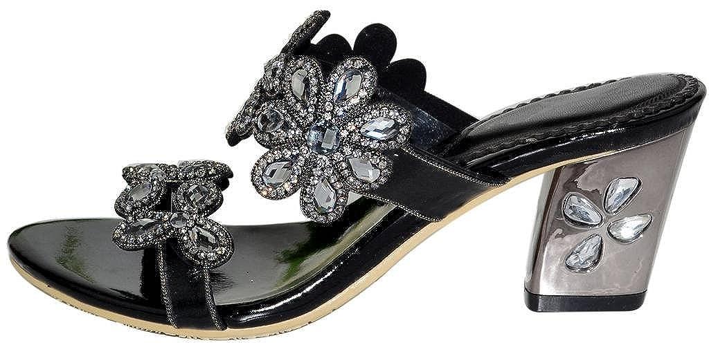 YooPrettyz Women Double Strap Sandal Sun Flowers Patterned Slid Wedding Prom Party Sandal