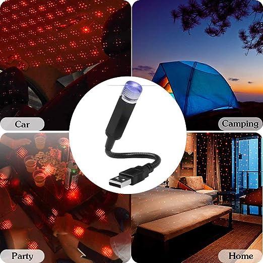 Rot, Stimmenkontrolle LED Auto Atmosph/äre Lampe Car Atmosphere Light Projector Licht USB Fernbedienung Romantische Dekoration for Car Home Party