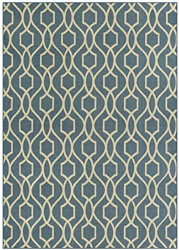 Maples Rugs 7 x 10 Non Slip Large Area Rugs Made in USA for Living Room, Bedroom, and Dining Room, Blue