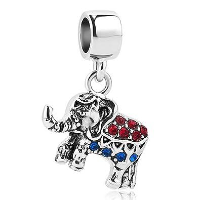 e5f7ef570e953 Amazon.com: SexyMandala Lucky Elephant Charms Cute Animal Beads Fit ...