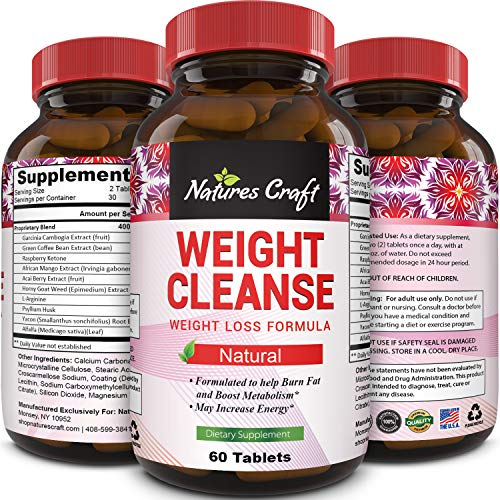 Natural Garcinia Cambogia Weight Loss HCA - Women and Men Pure Green Coffee Bean appetite suppressant Control Supplements - Detox Cleanse Supplement Natures Craft