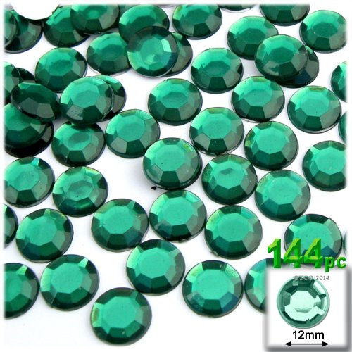 The Crafts Outlet 144-Piece Flatback Round Rhinestones, 12mm, Emerald Green