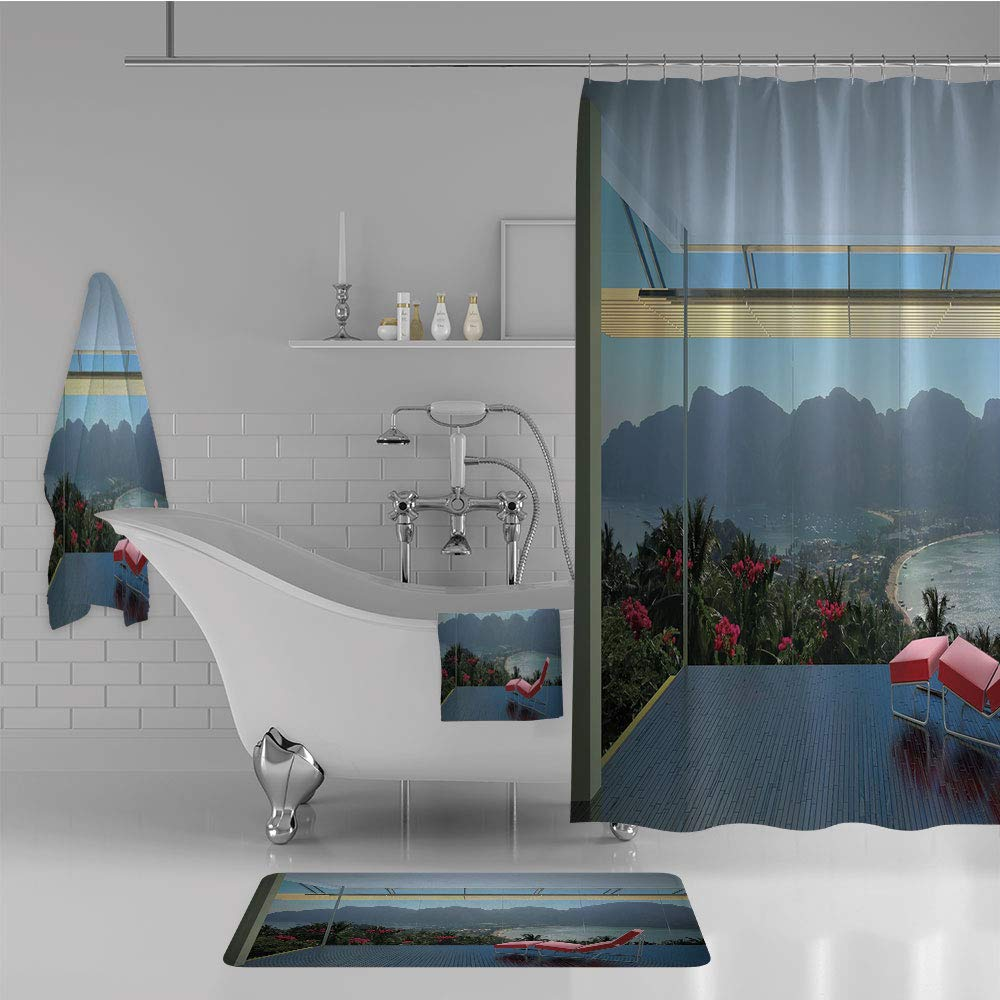 iPrint Bathroom 4 Piece Set Shower Curtain Floor mat Bath Towel 3D Print,Forest Mountains Beach Window View,Red Charcoal,Fashion Personality Customization adds Color to Your Bathroom.