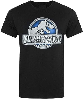 Jurassic World (Jurassic Park) - Metálico Logo - Camiseta Oficial Hombre - Negro, XX-Large