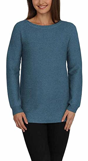 Cyrus Womens Ribbed Tunic High-Low Rounded Hem Pullover Knit Sweater Top (Large, Teal Heather)