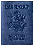 YumisGroup Passport Holder Cover Case - Leather Travel Wallet Organizer - Men Women, Blue