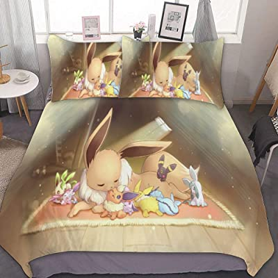MEW Anime Poke-mon Full/Queen Bedding Duvet Cover Set,Poke-mon Eevee Evolutions,3 Pieces Bedding Set,with Zipper Closure and 2 Pillow Shams,Cute Boys Girls Comforter Sets,Luxury Bedroom Decorations: Kitchen & Dining