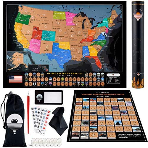 Scratch off Map of the United States + All US National Parks Scratch off Poster + Complete Scratch Off USA Map Kit – Includes 50 Landmarks & Scratchable Flags – Premium Travel Map Gift for Travelers