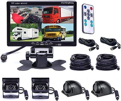 """7/"""" HD Split Monitor+4PIN Side Reverse Camera Rear Viewing Trailer Truck VAN 20M"""
