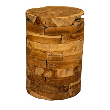 watch a2f02 0959f Handmade round teak drum table / lamp table / side table ...