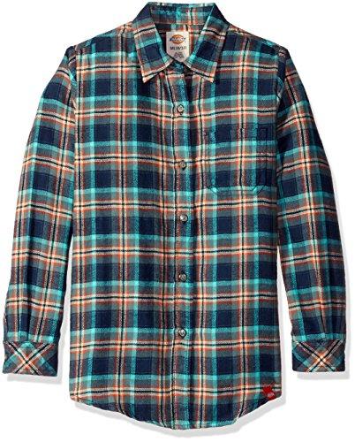 Long Flannel Kids Sleeve (Dickies Big Girls' Long Sleeve Flannel Shirt, Texas Topaz/Aqua Glow Plaid, L)