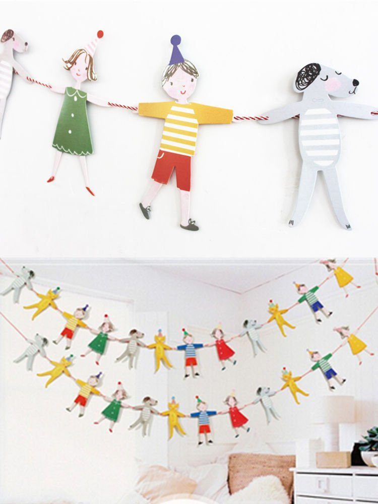Adorable Cartoon Character Animal Color Flag Children's Birthday Party Decoration Paper Flag Banner
