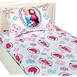 Disney Frozen Anna and Elsa  quot;Snowflake quot; Sheet Set: Twin, One Pillow Cases, One Flat  amp;