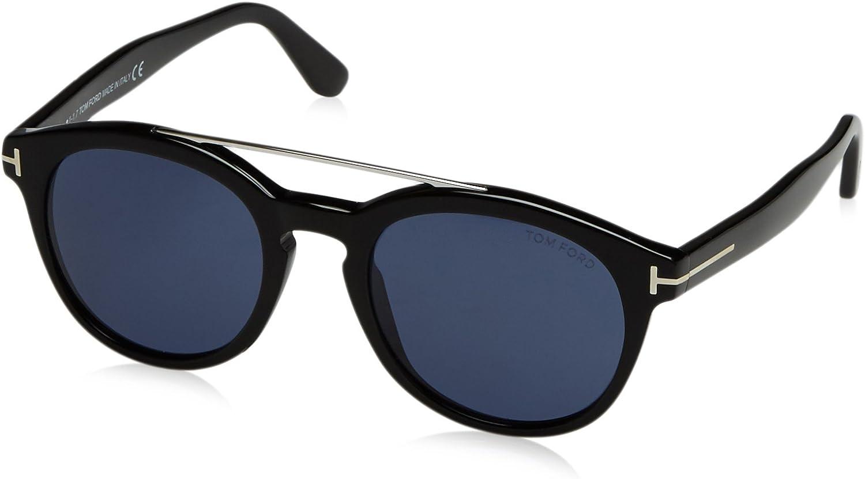 Tom Ford FT0515 01V 53 gafas de sol, Negro Lucido\\BLU, 53.0 Unisex Adulto