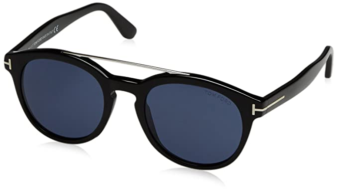 8df95ca0fa3 Image Unavailable. Image not available for. Color  Tom Ford FT0515 01V  Shiny Black Newman Round Sunglasses Lens Category 3 Size 53