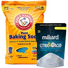 Arm & Hammer Baking Soda - 13½ lb. bag + Milliard 100% Pure Food Grade Citric Acid - 5 lb. bag for pool pH adjustment and alkalinity - Pool Stabilizer Variety Pack