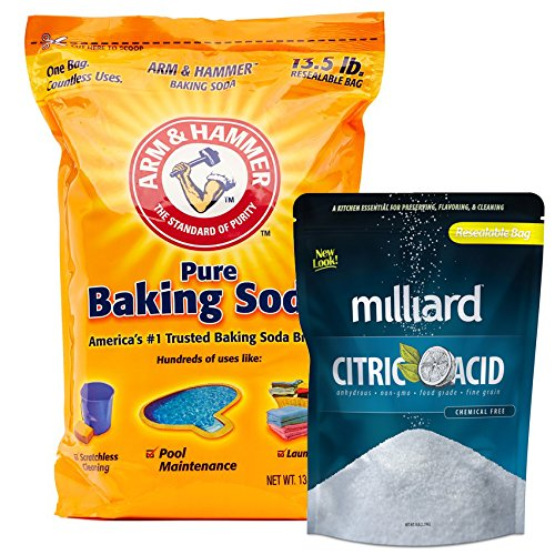Arm & Hammer Baking Soda - 13½ lb. bag + Milliard 100% Pure Food Grade Citric Acid - 5 lb. bag for pool pH adjustment and alkalinity - Pool Stabilizer Variety (Hot Tub Liners)