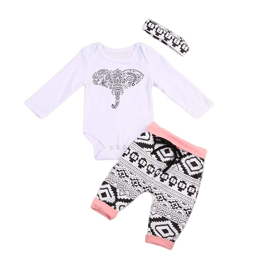 3Pcs/Set Newborn Baby Girl Boy Long Sleeve Elephant Bodysuit + Geometric Pants + Headband Outfit Clothes